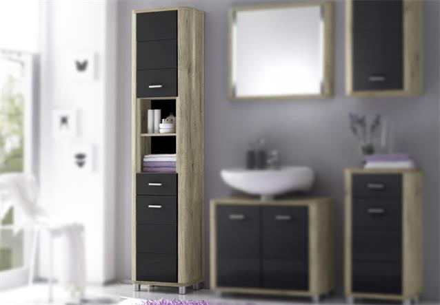 hochschrank vital badezimmerschrank in san remo eiche und grau hochglanz ebay. Black Bedroom Furniture Sets. Home Design Ideas