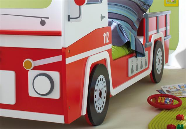 feuerwehrbett in rot wei autobett bett kinderbett 90x200 cm ebay. Black Bedroom Furniture Sets. Home Design Ideas