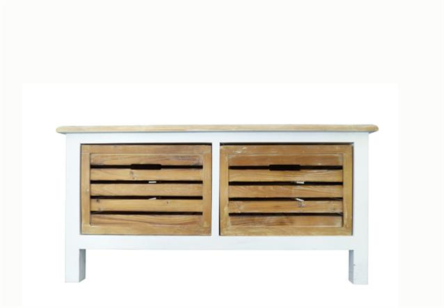 couchtisch tisch in paulownia holz weiss vintage look landhaus ebay. Black Bedroom Furniture Sets. Home Design Ideas
