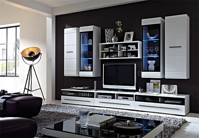 wohnwand hit mdf wei hochglanz anbauwand mit led. Black Bedroom Furniture Sets. Home Design Ideas
