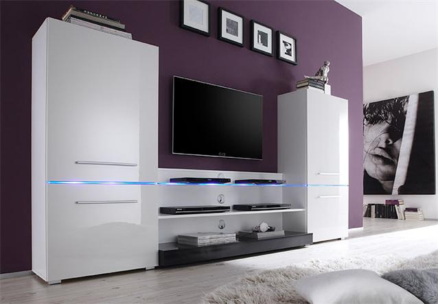 wohnwand wohnzimmer anbauwand wei hochglanz mit led beleuchtung ebay. Black Bedroom Furniture Sets. Home Design Ideas