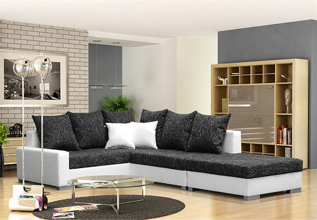 ecksofa sonya couch sofa ecke mit hocker in wei und grau neu ebay. Black Bedroom Furniture Sets. Home Design Ideas