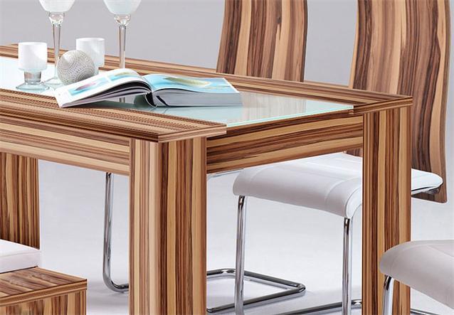 esstisch auszug tisch 160 205 in baltimore walnuss glas wei neu. Black Bedroom Furniture Sets. Home Design Ideas