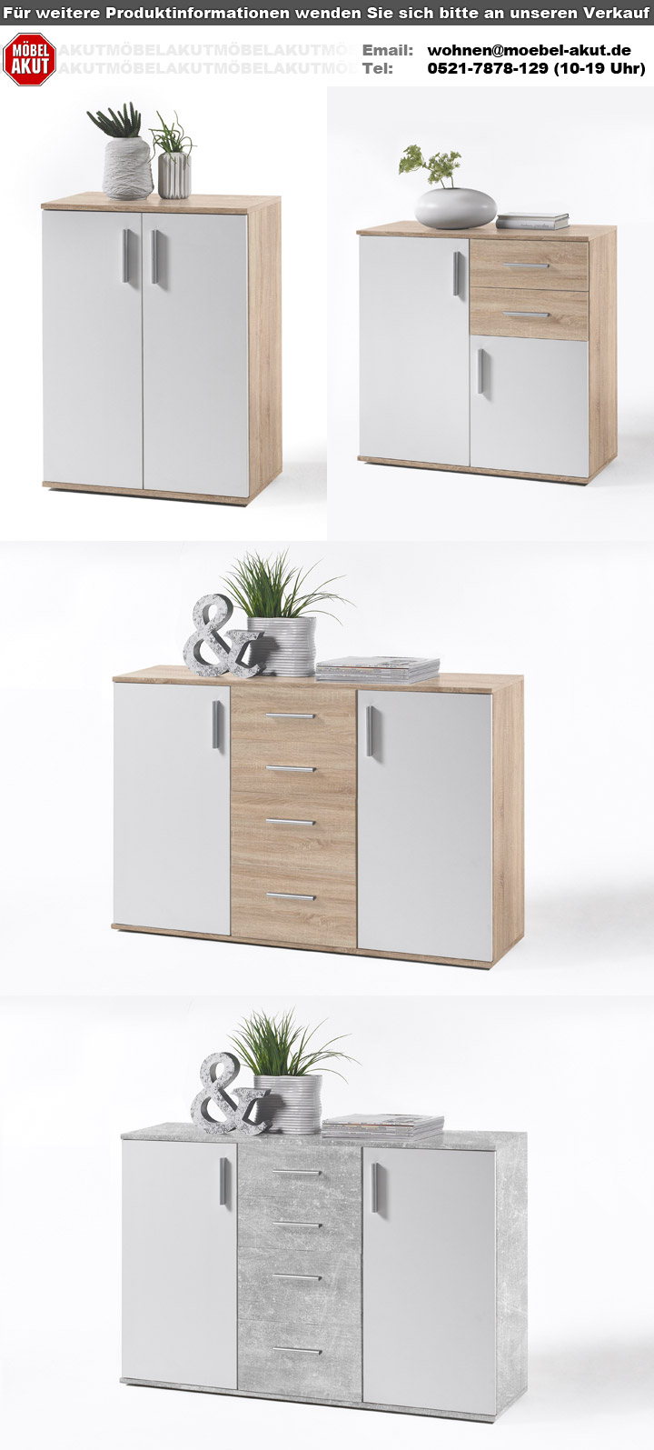 kommode bobby 5 sideboard wohnzimmerschrank sonoma eiche und wei ebay. Black Bedroom Furniture Sets. Home Design Ideas
