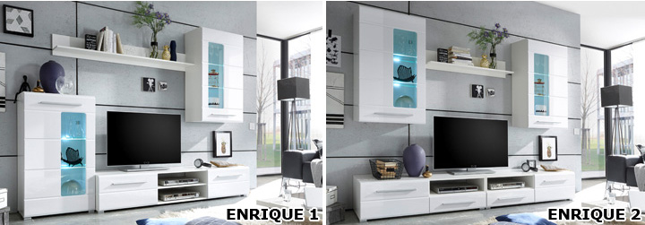 wohnwand enrique 2 front wei hochglanz 2 h ngevitrinen. Black Bedroom Furniture Sets. Home Design Ideas