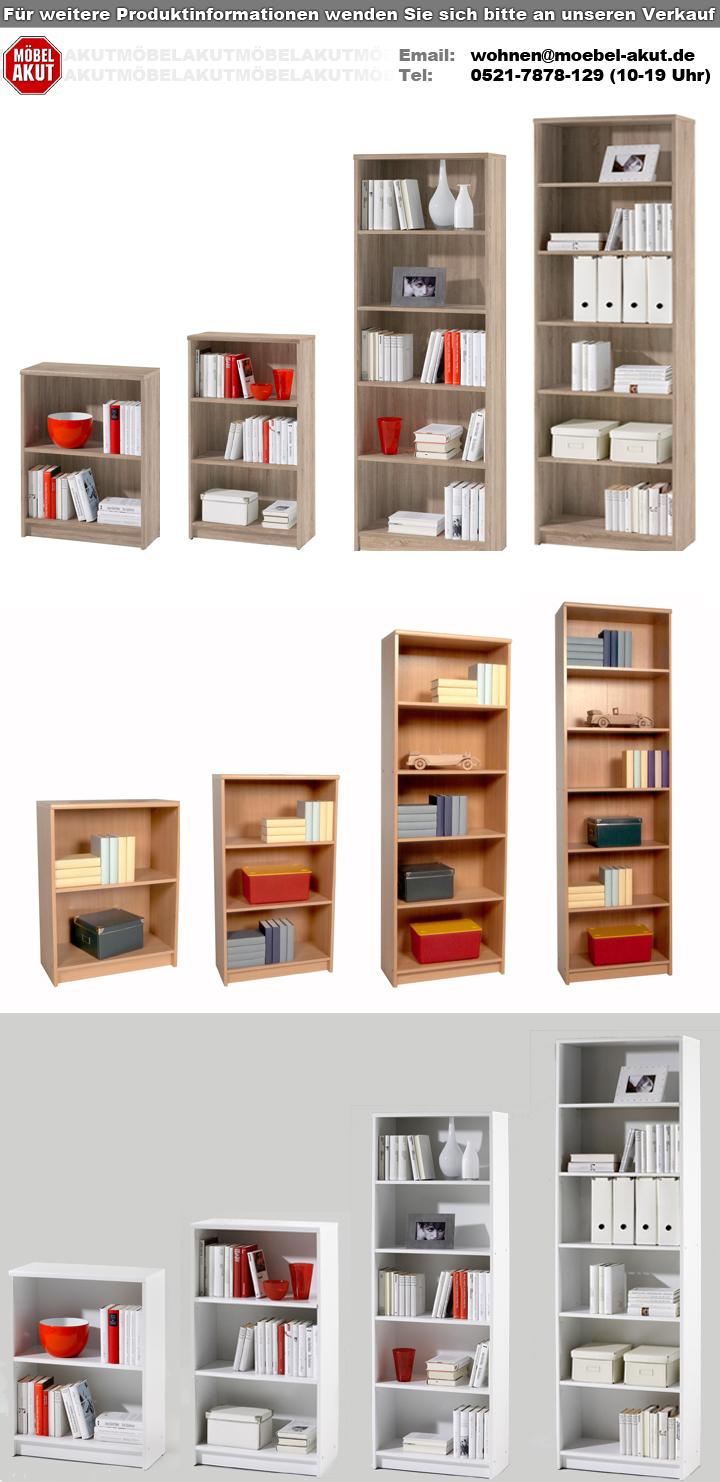 regal lilly 4 wei es b cherregal mit 6 f chern 202 cm hoch. Black Bedroom Furniture Sets. Home Design Ideas