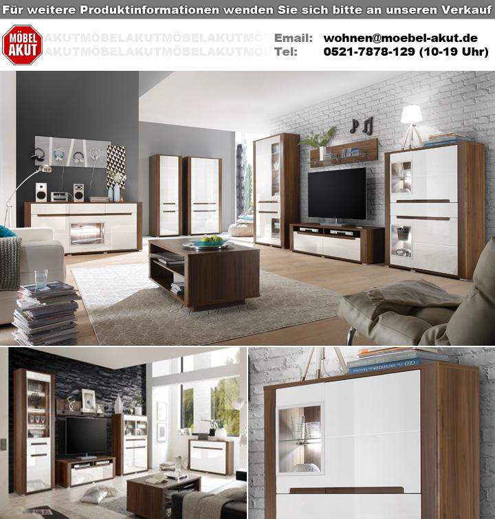 wandboard neapoli in canyon walnuss mit glasablage 140 cm. Black Bedroom Furniture Sets. Home Design Ideas