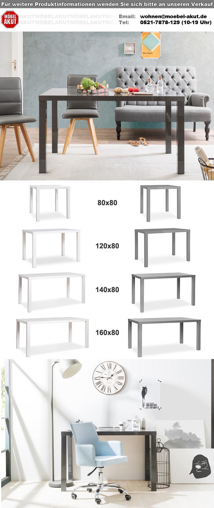 ... Esszimmertisch Küchentisch MDF in grau Hochglanz lackiert 140x80