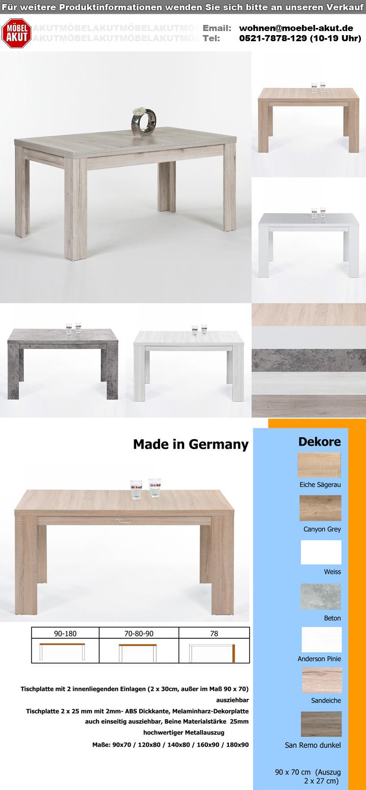 esstisch foxy esszimmertisch tisch in beton optik ausziehbar 140 200x80 cm ebay. Black Bedroom Furniture Sets. Home Design Ideas