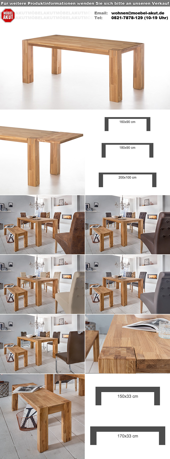 esstisch big oak in wildeiche massiv ge lt 200x100 cm. Black Bedroom Furniture Sets. Home Design Ideas