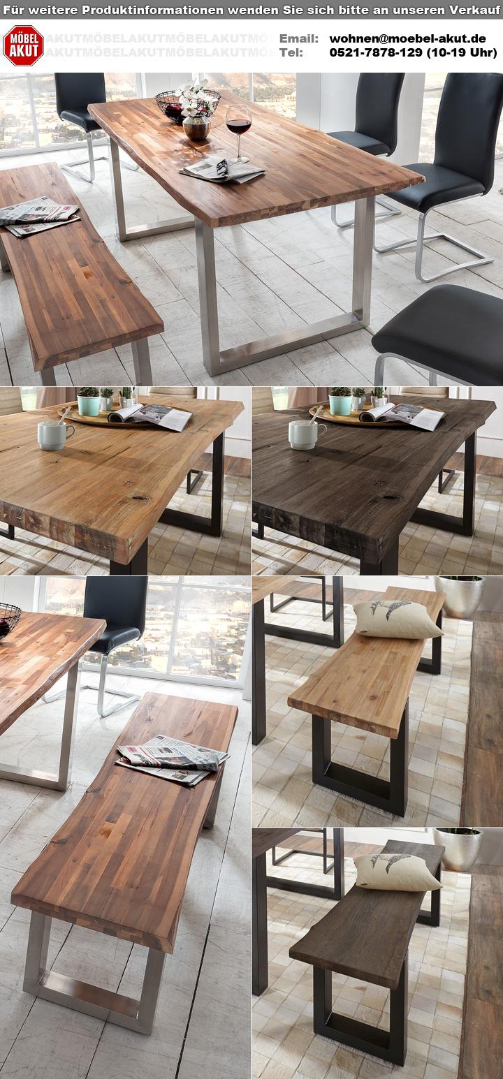 bank maryland akazie massiv verwittert eisen 180 cm. Black Bedroom Furniture Sets. Home Design Ideas