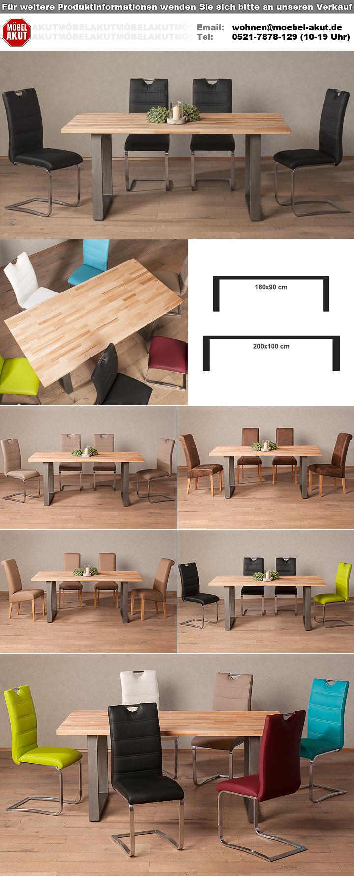 esstisch palm beach kernbuche massiv ge lt eisen 180x90. Black Bedroom Furniture Sets. Home Design Ideas