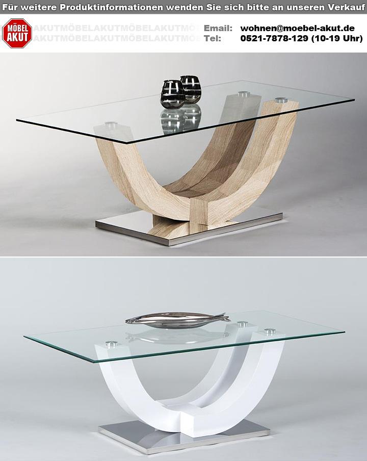 Couchtisch WINGO Klarglas MDF Eiche Sonoma 120×60 cm