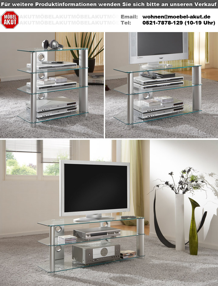 tv rack harry silber alu hifi turm aus glas phono tisch media board 65 cm ebay. Black Bedroom Furniture Sets. Home Design Ideas