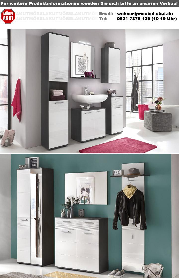 spiegel smart bad wandspiegel badspiegel in grau matt mit 1 ablageboden 60x71 cm ebay. Black Bedroom Furniture Sets. Home Design Ideas