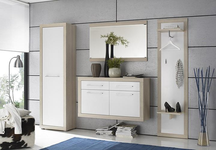 garderobenschrank crema dielenschrank in sonoma eiche s gerau und wei ebay. Black Bedroom Furniture Sets. Home Design Ideas