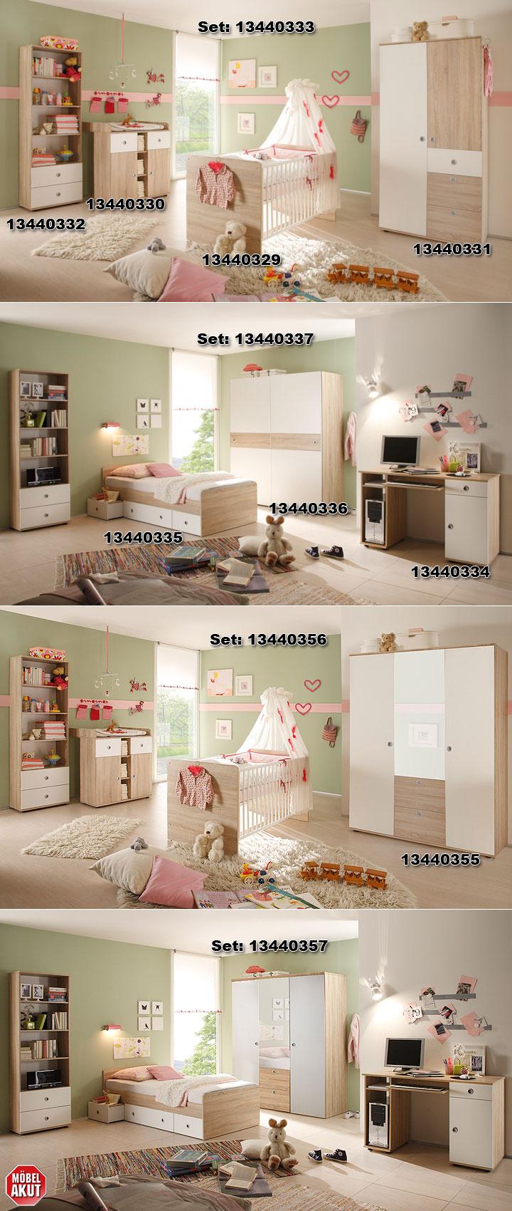 babyzimmer wiki 4 tlg sonoma eiche s gerau und wei. Black Bedroom Furniture Sets. Home Design Ideas