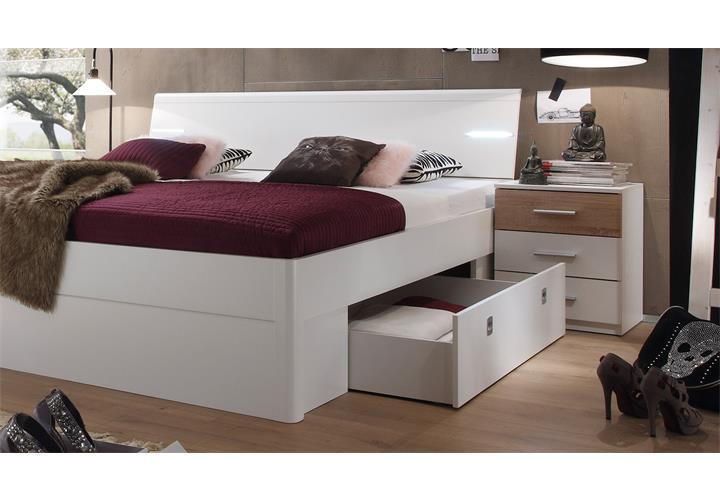 Doppelbett Mit Led ~ Bettanlage mars doppelbett mit led nachtkommoden bettschubkasten