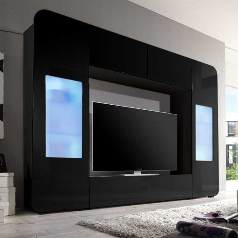 mediawand kino wohnwand anbauwand mit led in hochglanz wei rot oder schwarz ebay. Black Bedroom Furniture Sets. Home Design Ideas