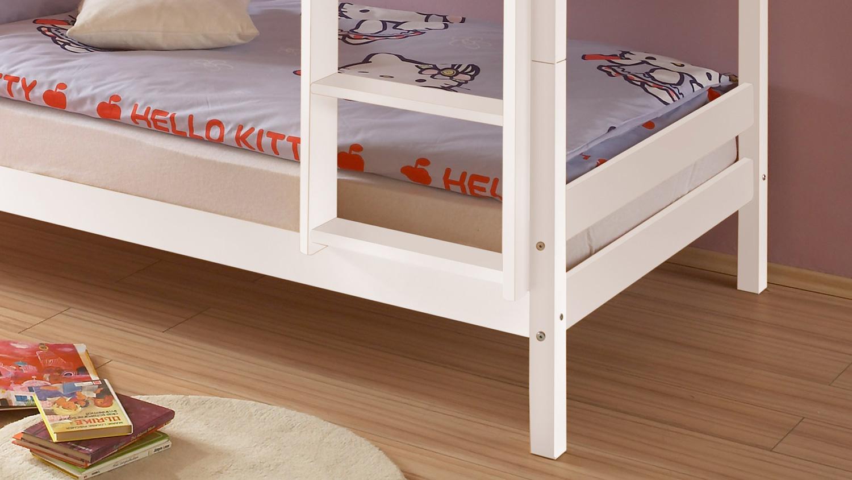 etagenbett hochbett kinderzimmer bett 90x200 kiefer natur oder wei leiter ebay. Black Bedroom Furniture Sets. Home Design Ideas