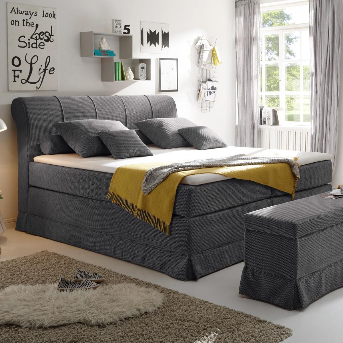 boxspringbett carson 1 bett schlafzimmerbett beige anthrazit braun mit topper ebay. Black Bedroom Furniture Sets. Home Design Ideas