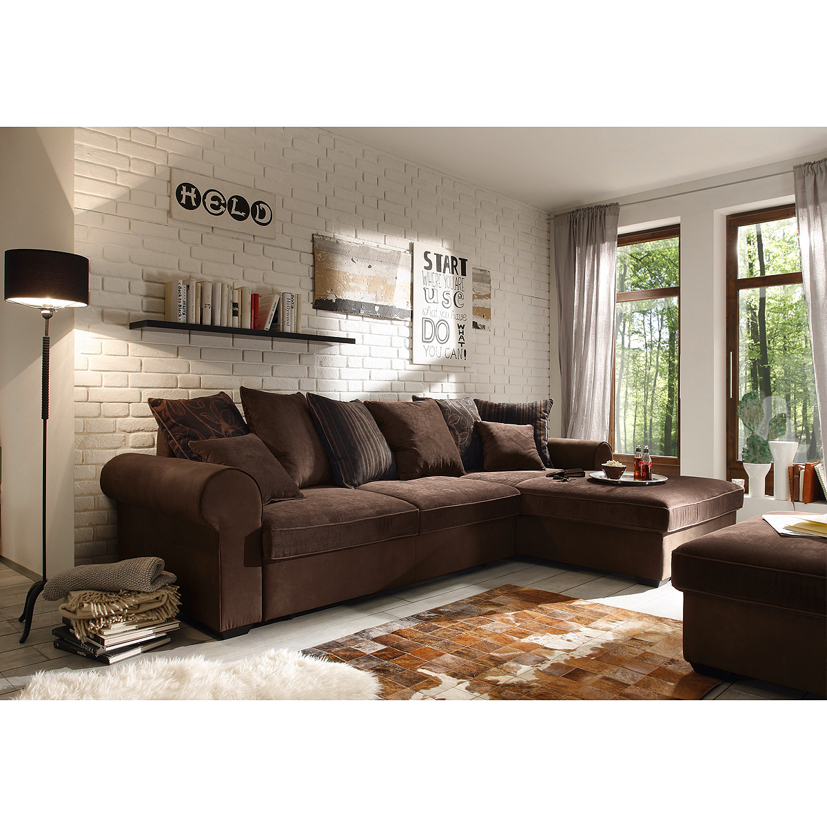 ecksofa canyon wohnlandschaft sofa in braun schwarzbraun. Black Bedroom Furniture Sets. Home Design Ideas