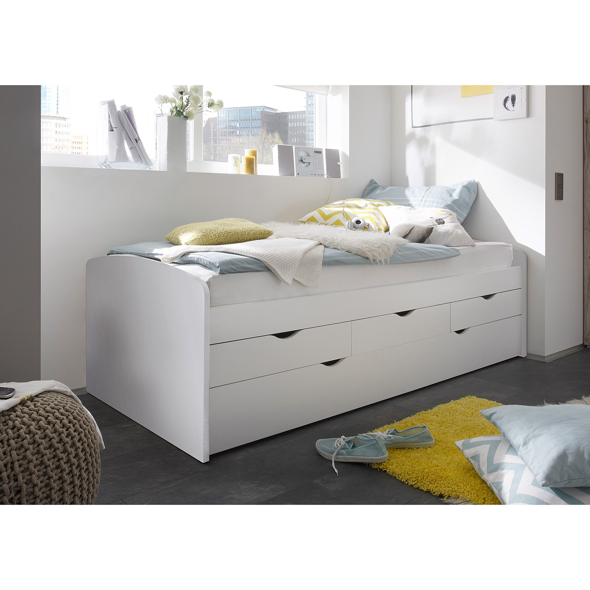 kojenbett nessi bett hochbett wei sandeiche eiche sonoma 2 liegefl chen 90x200 ebay. Black Bedroom Furniture Sets. Home Design Ideas