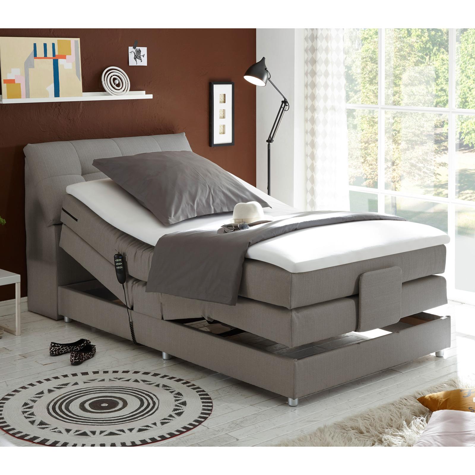 boxspringbett concort bett stoff komfortbett mit motor und topper120x200 cm ebay. Black Bedroom Furniture Sets. Home Design Ideas
