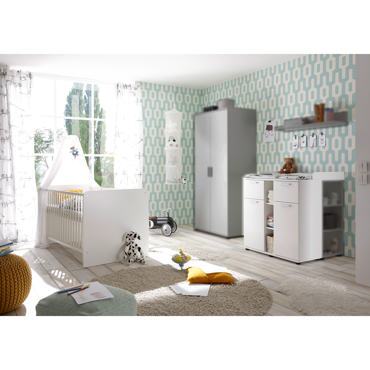 babyzimmer bibo kinderzimmer set schrank bett kommode regal in wei ebay. Black Bedroom Furniture Sets. Home Design Ideas