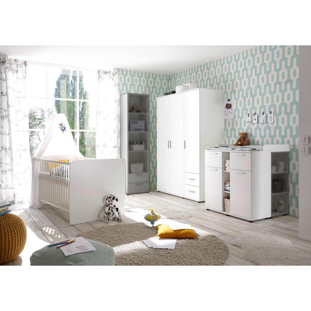 babyzimmer bibo kinderzimmer set schrank bett kommode regal in wei ebay. Black Bedroom Furniture Sets. Home Design Ideas