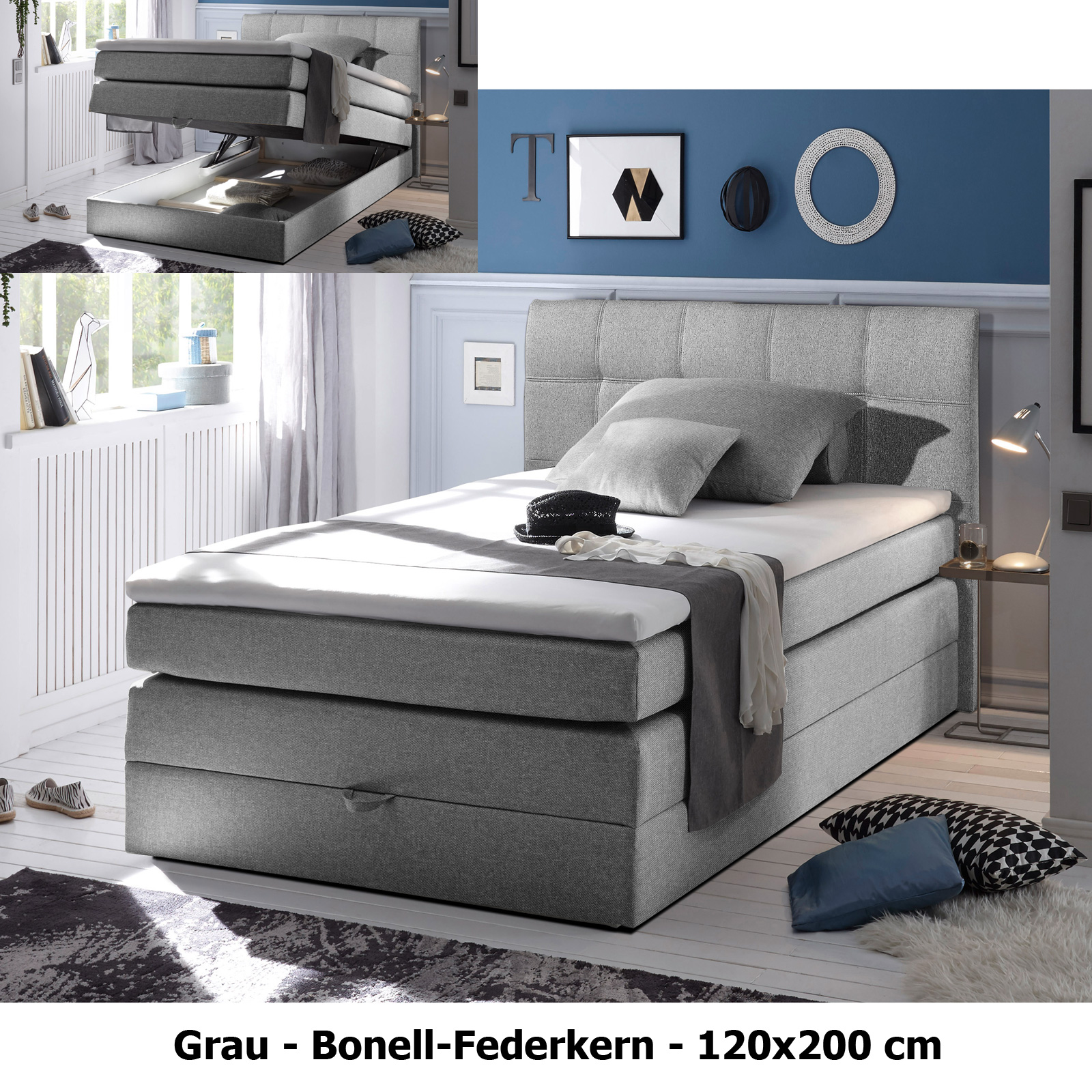 boxspringbett new bedford beige grau braun bonell federkern bettkasten 120x200 ebay. Black Bedroom Furniture Sets. Home Design Ideas
