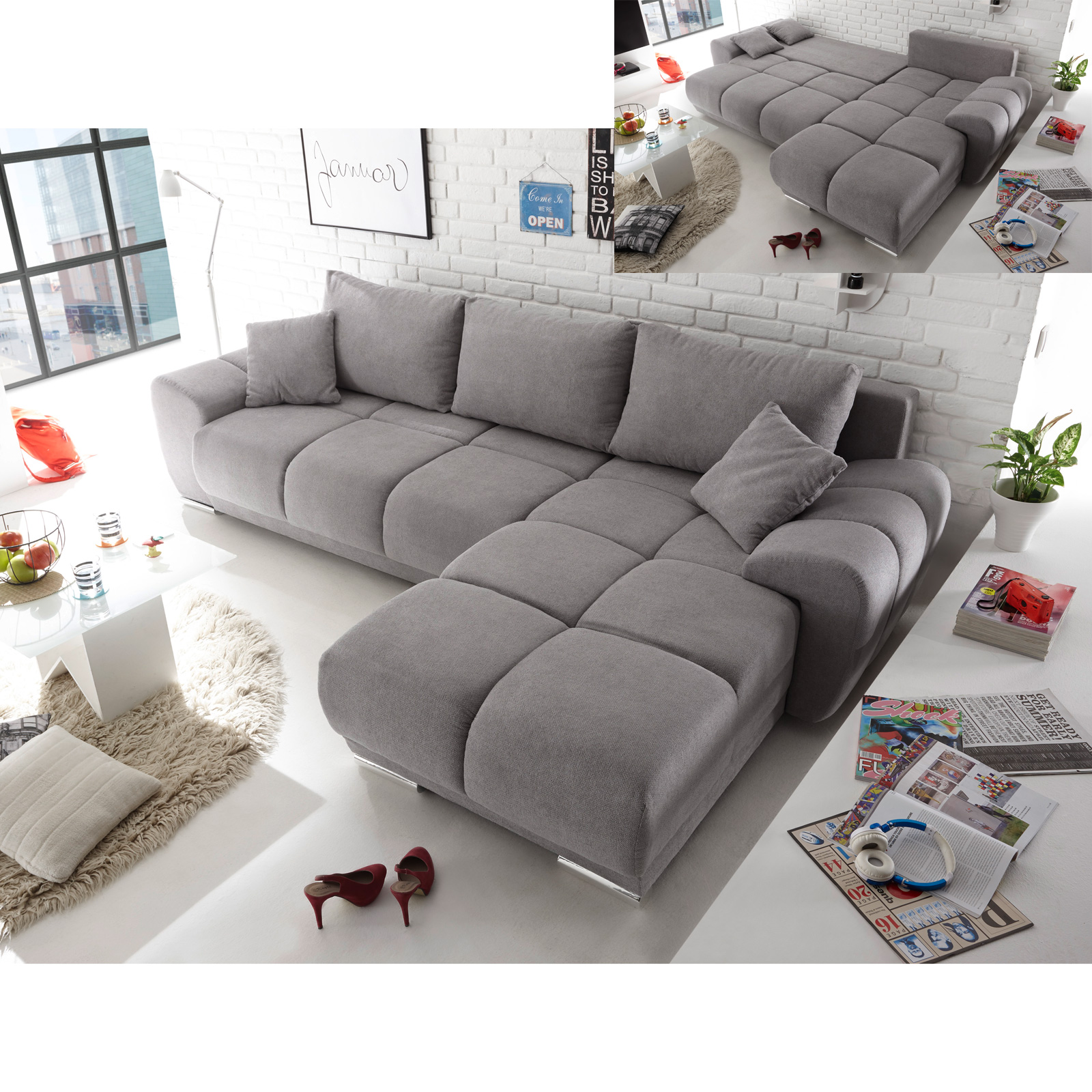ecksofa arox stoff grau braun taupe nosagfederung schlaffunktion und bettkasten ebay. Black Bedroom Furniture Sets. Home Design Ideas