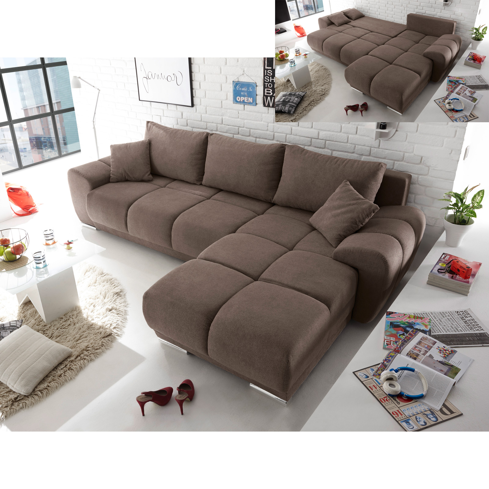 ecksofa arox stoff grau braun taupe nosagfederung schlaffunktion und bettkasten ebay. Black Bedroom Furniture Sets. Home Design Ideas