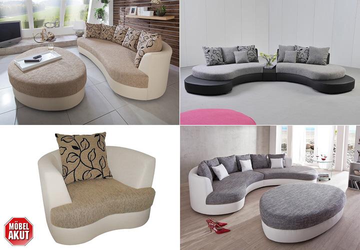 Wohnlandschaft limoncello sofa polsterm bel in wei grau for Schwarze wohnlandschaft