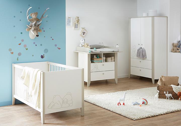 Babyzimmer OURSON in Samtweiß und Beige mit Teddy-Bär Motiv