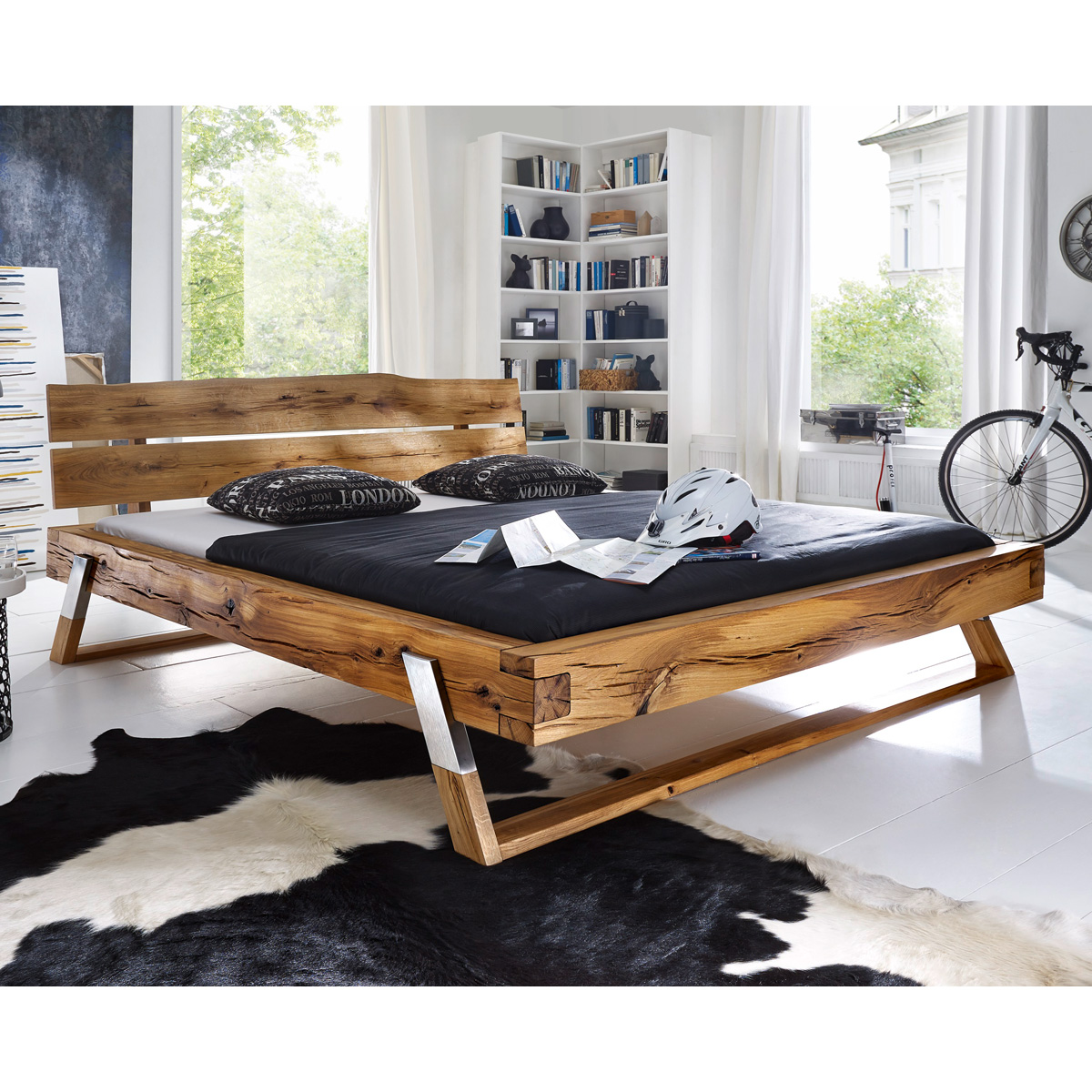balkenbett gojo doppelbett bett in wildeiche fichte wildbuche massiv 180x200 cm ebay. Black Bedroom Furniture Sets. Home Design Ideas