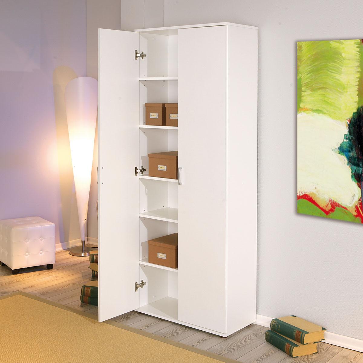 mehrzweckschrank haushaltsschrank b roschrank zwei t ren 6 f cher ebay. Black Bedroom Furniture Sets. Home Design Ideas