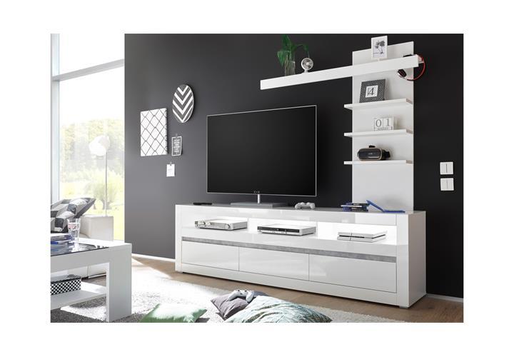 Wohnwand 3 Carat Anbauwand Tv Board Wohnkombi Regal Weiss Hochglanz Beton Grau