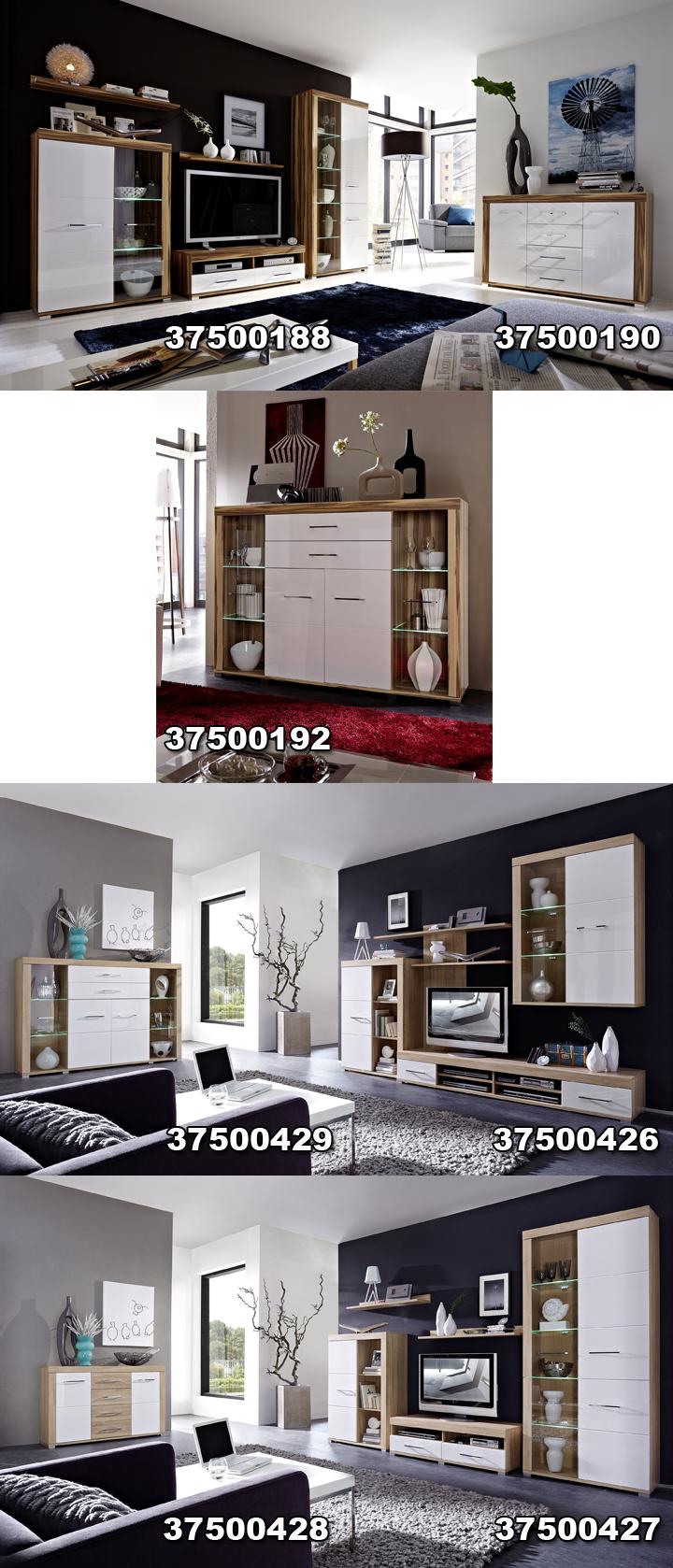 sideboard zento wei hochglanz sonoma eiche hell. Black Bedroom Furniture Sets. Home Design Ideas