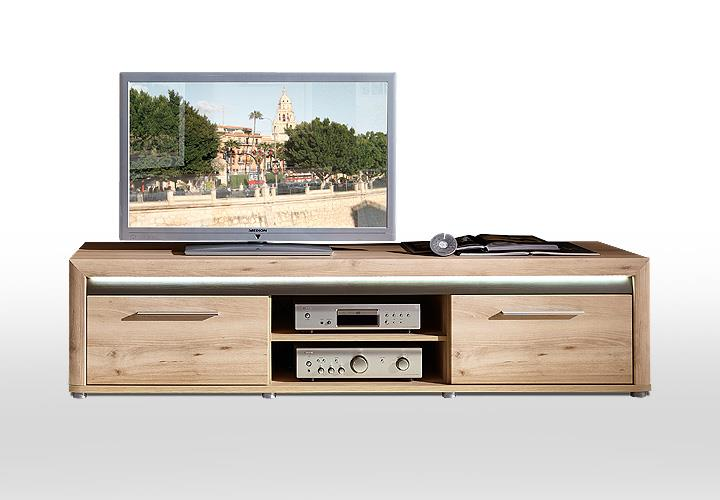 tv board run unterschrank lowboard fernsehschrank in buche hell inkl led 4250314519415 ebay. Black Bedroom Furniture Sets. Home Design Ideas