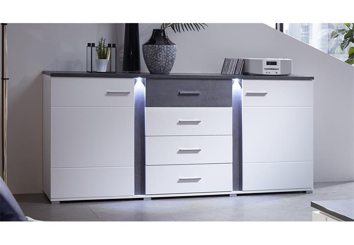 Sideboard Spurt mit LED Anrichte Kommode Wohnzimmer weiß und ...