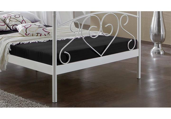 metallbett lisa himmelbett gestell in wei 120 x 200 cm matratze und lattenrost ebay. Black Bedroom Furniture Sets. Home Design Ideas