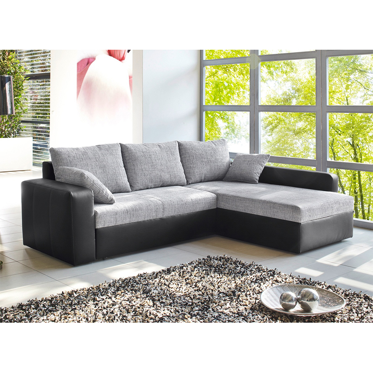 ecksofa viper sofa wohnlandschaft in schwarz grau wei. Black Bedroom Furniture Sets. Home Design Ideas