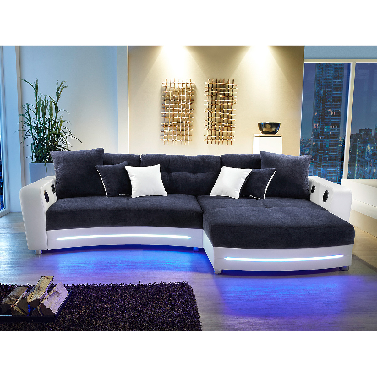 wohnlandschaft laredo sofa ecksofa in schwarz grau greige led soundsystem ebay. Black Bedroom Furniture Sets. Home Design Ideas