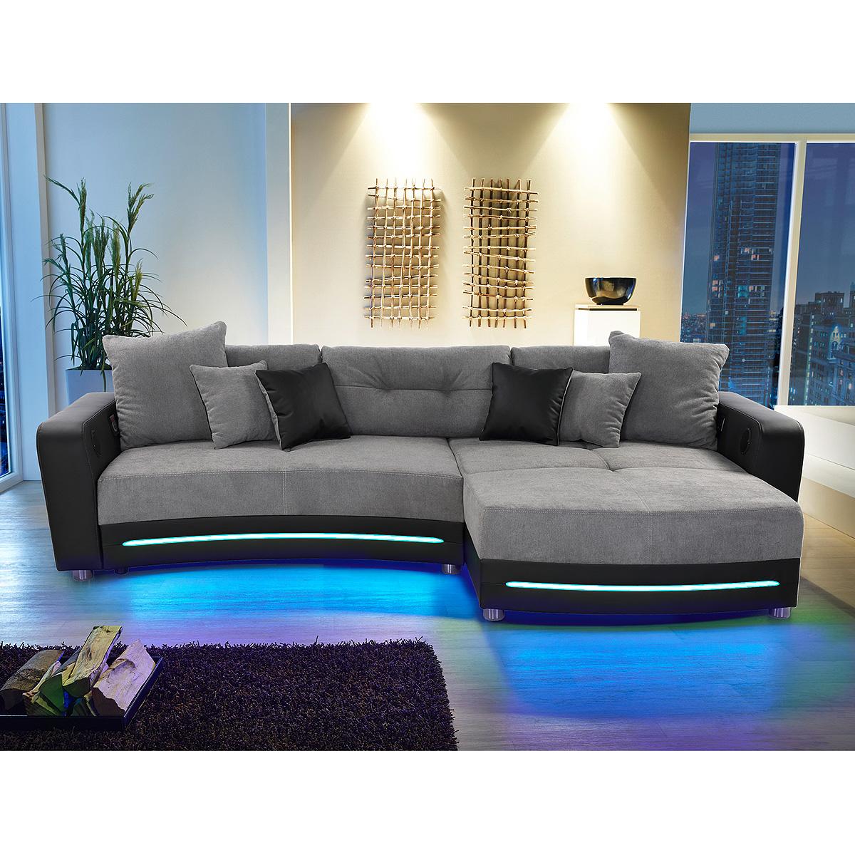wohnlandschaft laredo sofa ecksofa in schwarz grau greige led soundsystem ebay. Black Bedroom Furniture Sets. Home Design Ideas