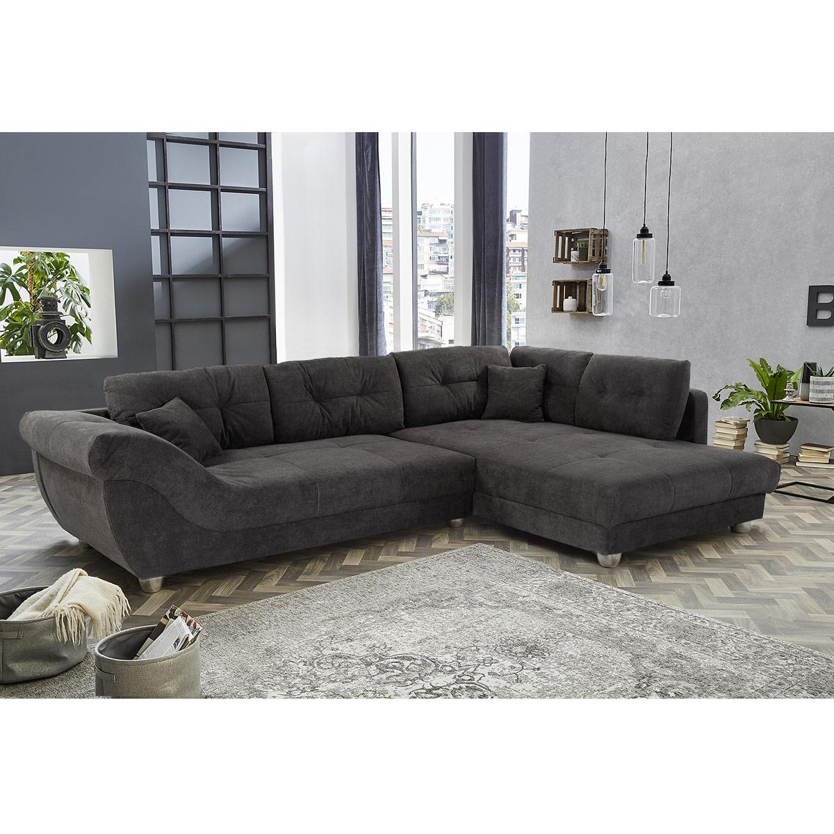 Ecksofa Sienas Sofa Wohnlandschaft Polstersofa In Schwarz Braun Grau