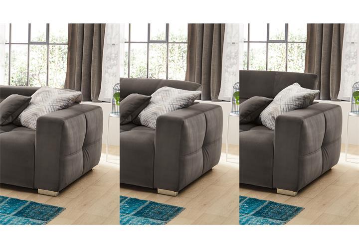 Details zu Big Sofa Trento Megasofa Stoff samtweich blau grün rot grau  Kopfteilverstellung