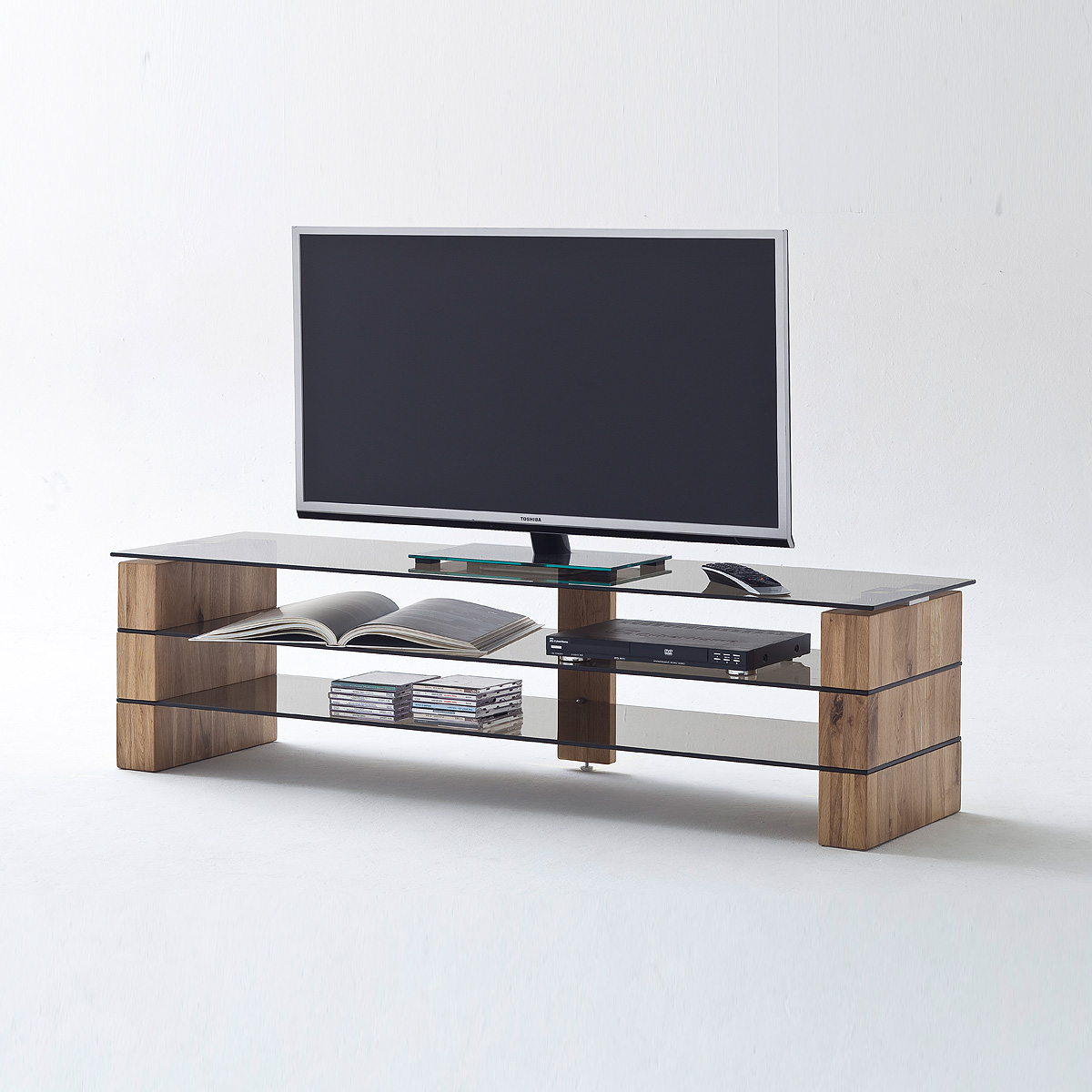 tv rack kari tv board lowboard in eiche massiv glas grau. Black Bedroom Furniture Sets. Home Design Ideas