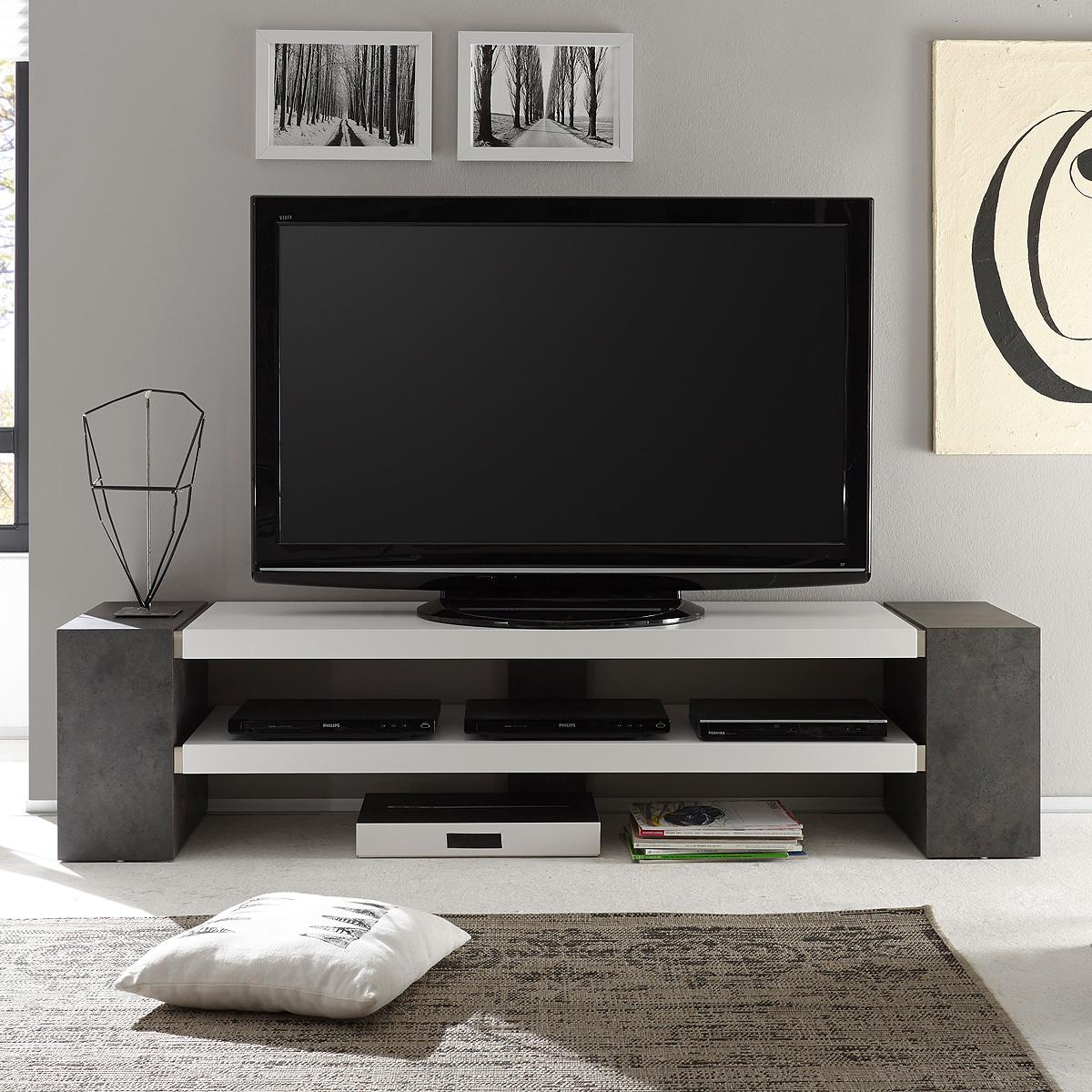 tv rack janes tv board lowboard in wei matt lack mit beton oder eiche massiv ebay. Black Bedroom Furniture Sets. Home Design Ideas