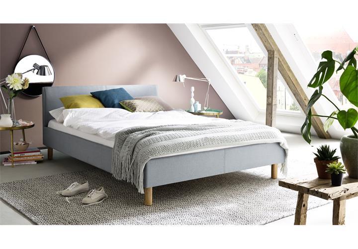 Details zu Polsterbett Belli Schlafzimmer Bett 120 140x200 mit Kopfteil  Stoff gepolstert